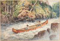 Indians Shooting Rapids in a Bark Canoe. Date unknown