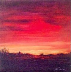 Beautiful, vibrant red sunset over the Cincinnati area
