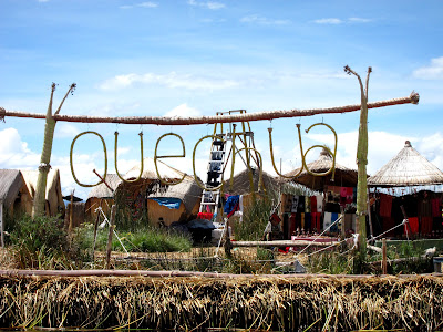 Quechua sign on a floating island on Lake Titicaca in Puno Peru