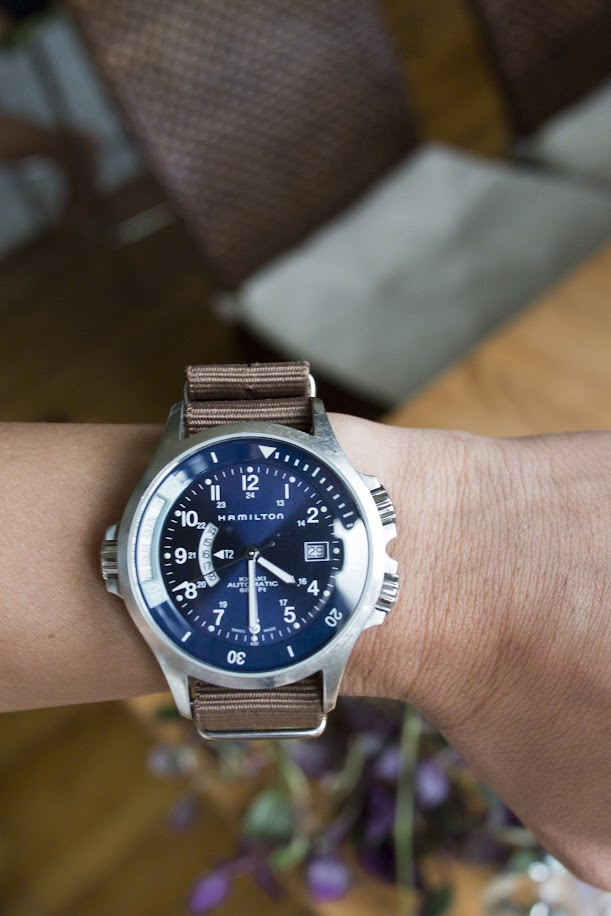 Hamilton Khaki Navy GMT with khaki-colored nylon strap