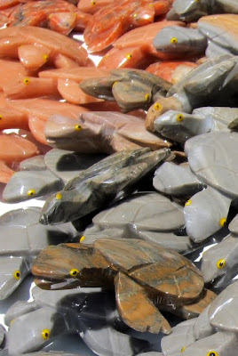 Turtles made out of stone in Praia do Forte in Brazil