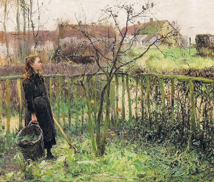 Evariste Carpentier - Jeune fille dans le jardin