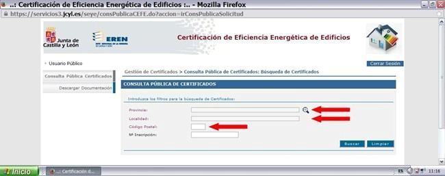 buscar certificado energetico en junta castilla y leon y registro ceren 5