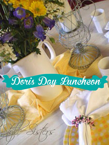 Mother's Day tablescape inspired by Doris day, yellow and pink polka dot plates