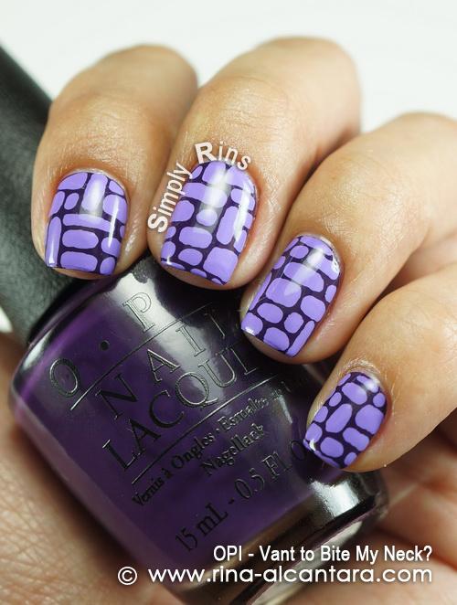 Purple Bricks Nail Art Design on OPI Vant to Bite My Neck?
