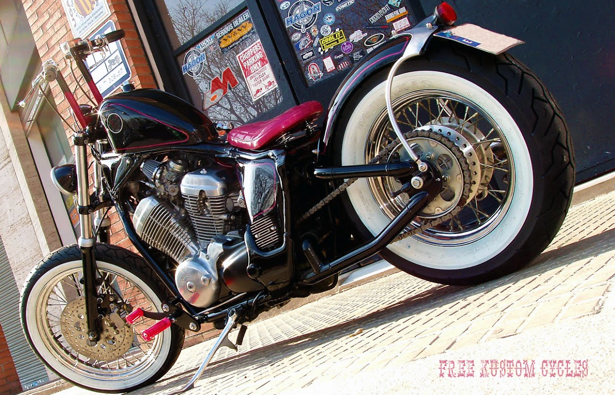 vt600 shadow bobber for a woman in spain by free kustom. Black Bedroom Furniture Sets. Home Design Ideas
