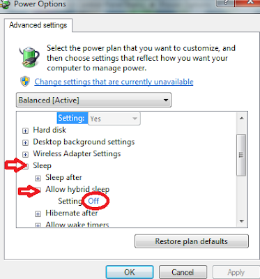 Windows 7 control panel power options - advanced settings