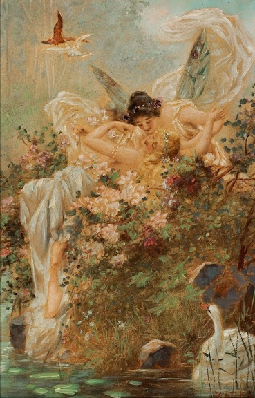 Hans Zatzka - Two Fairies Embracing in a Landscape with a Swan-circa 1900