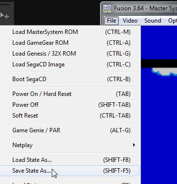 Usando o save state do emulador Fusion