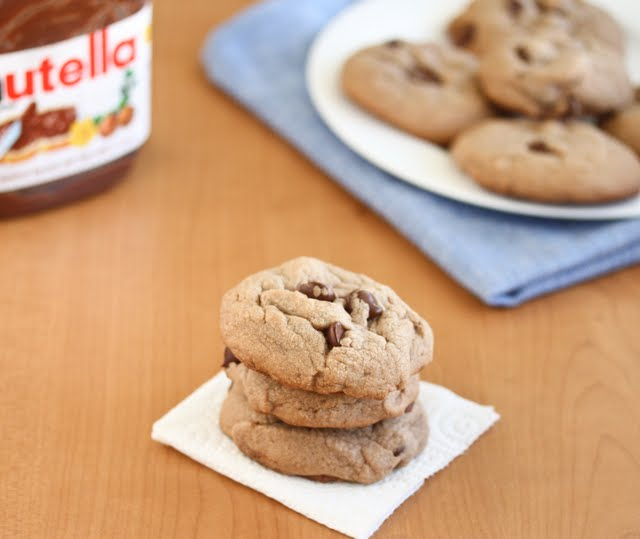 photo of a stack of three Soft Nutella Cookies