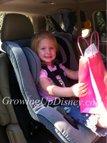 child in carseat, child on vacation, driving to Walt Disney World, adding magic