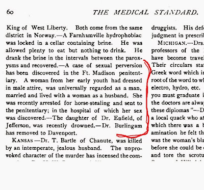 FTM in The Medical Standard, Chicago, August, 1888, Vol. IV No. 2, p. 60