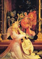 grünevald, gruenewald, concert, angels, 1515, music, isenheim, altarpiece, fantasy, dark