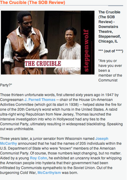 """the crucible performance review The first scene in """"the crucible"""" strikes the first wrong note we are in salem, mass, in 1692 by the light of a full moon, a minister happens upon a group of adolescent girls, naked, dancing in the forest around a boiling pot of witches' brew."""