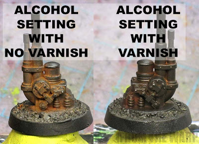 varnish over weathering powders