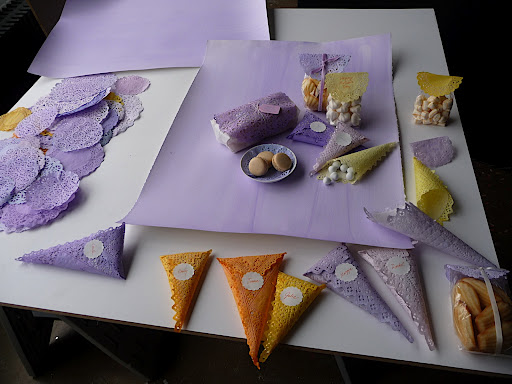 Our first go at the dyed doilies- we often like to take several variations.