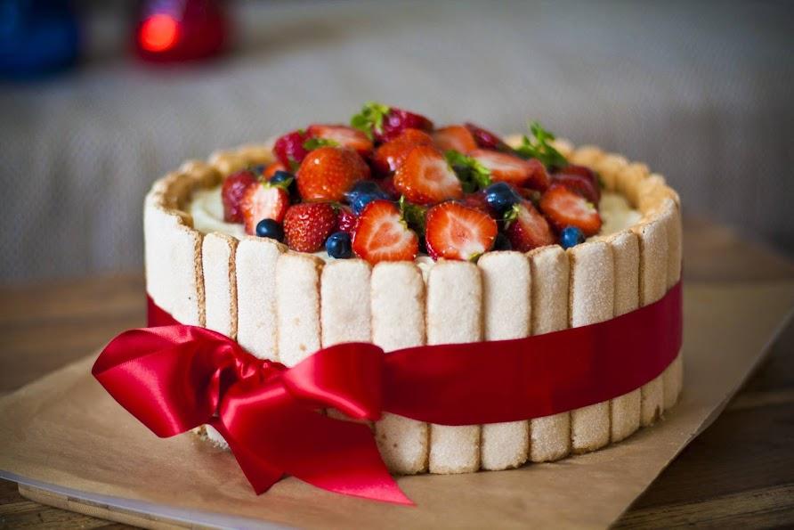Sponge Cake Dessert Charlotte With Berries