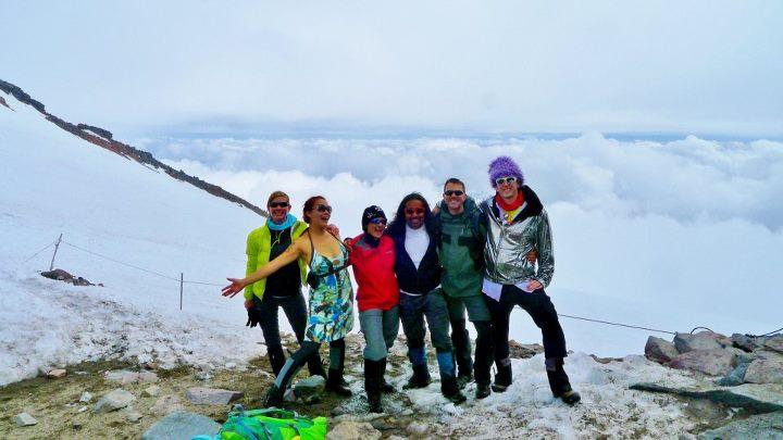 Disco Hoodie group on mountain