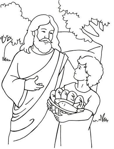 Imágenes de Milagro de Jesús alimentando a los 500 con pan y pescado para colorear
