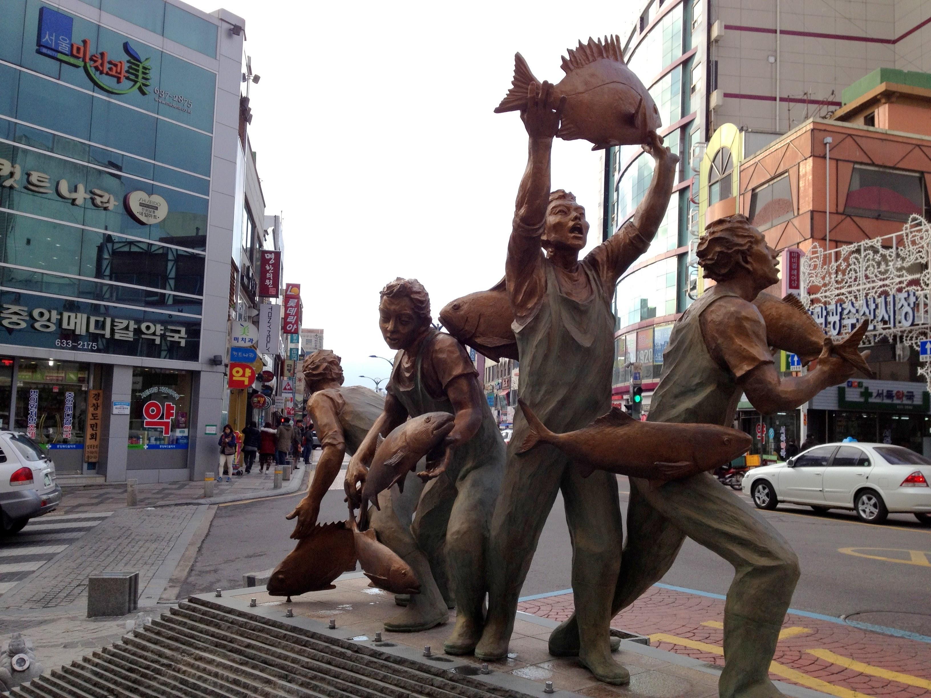 Fisherman status in the center of Sokcho, Korea