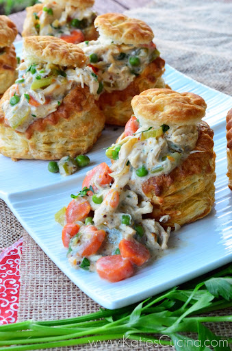 Chicken Pot Pies in Puff Pastry Shells from KatiesCucina.com
