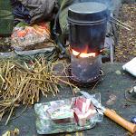Mittagessen kochen nach Regentag.