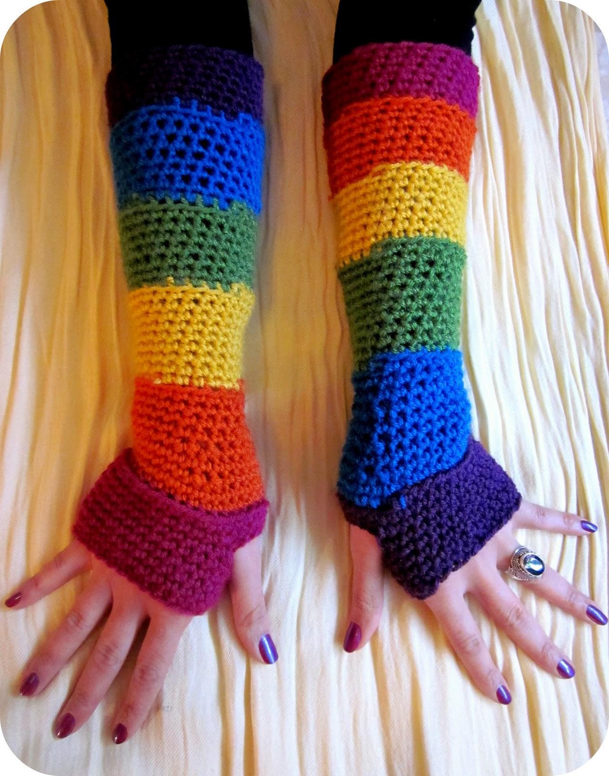 February jones crochet rainbow fingerless gloves free pattern