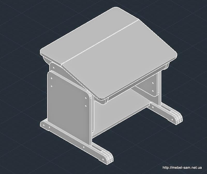 Столешница парты разделена на две неравные части