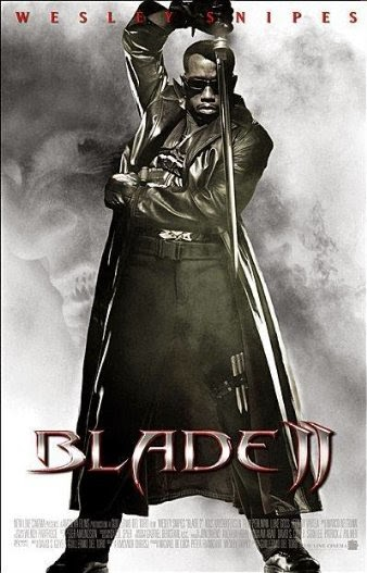 Poster Of English Movie Blade II (2002) Free Download Full New Hollywood Movie Watch Online At Alldownloads4u.Com
