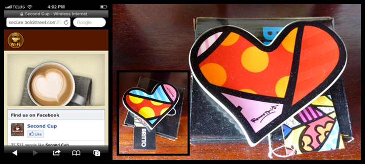 Heart-spotting @ Second Cup (Calgary) featuring Romero Britto tea bag holders