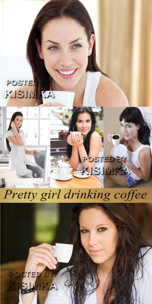 Stock Photo: Pretty girl drinking coffee