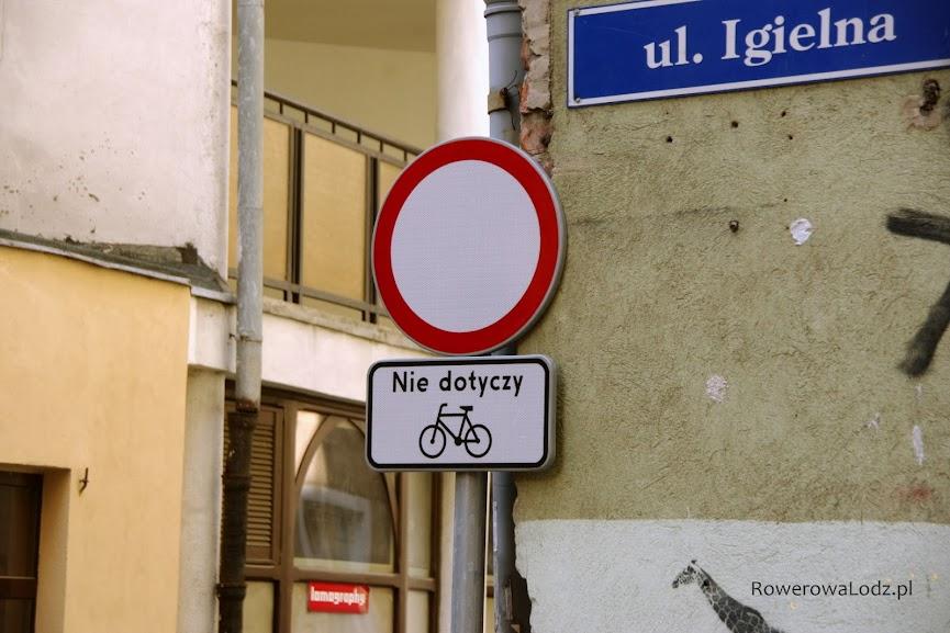 """Tabliczkę t-22 """"nie dotyczy rowerów"""" zamieszcza się na ulicach niedostępnych dla żadnych innych pojazdów"""