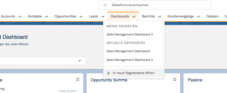 Salesforce Dashboard als Registerkarte öffnen