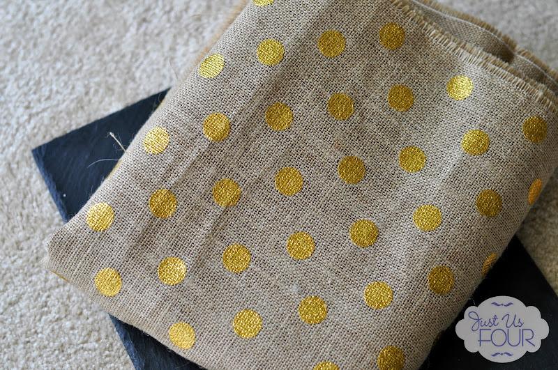gold dot burlap
