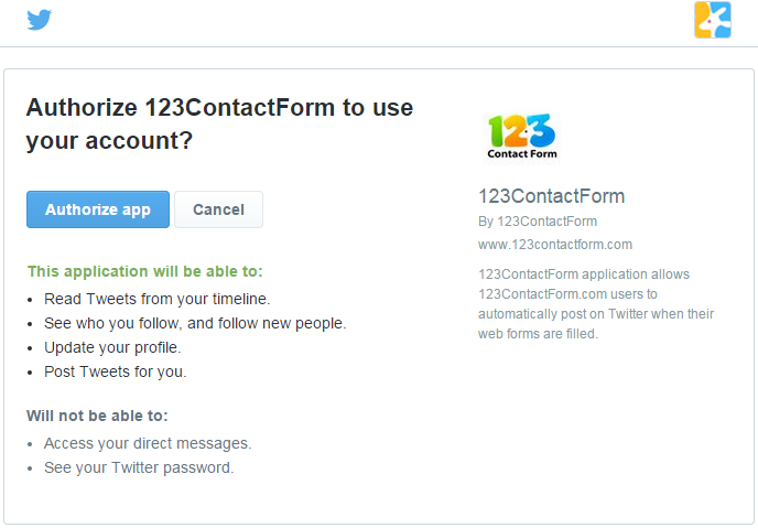 123contactform twitter form integration
