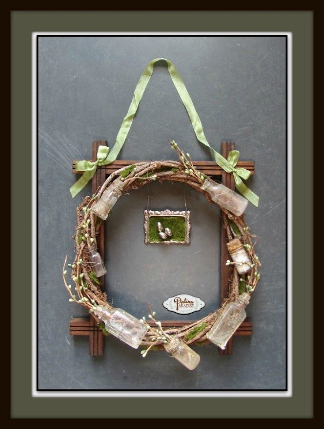 Rustic Spring Wreath With Vintage Bottles
