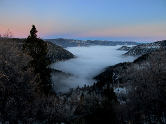 Fog creeping up Little Horse Canyon after sunset