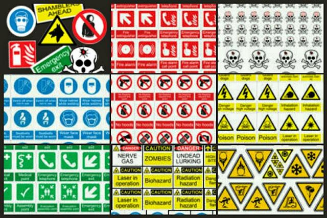 Pegatinas de peligro y advertencia de Hasslefree