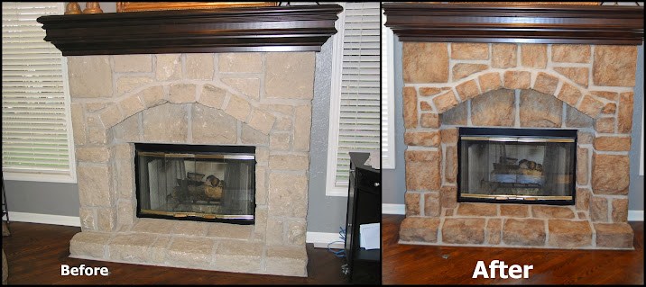 Faux highligts on stone fireplace