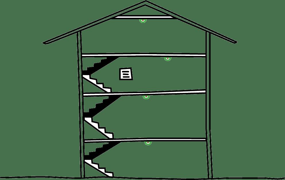 Einsatz von Rauchwarnmeldern in mehreren Stockwerken