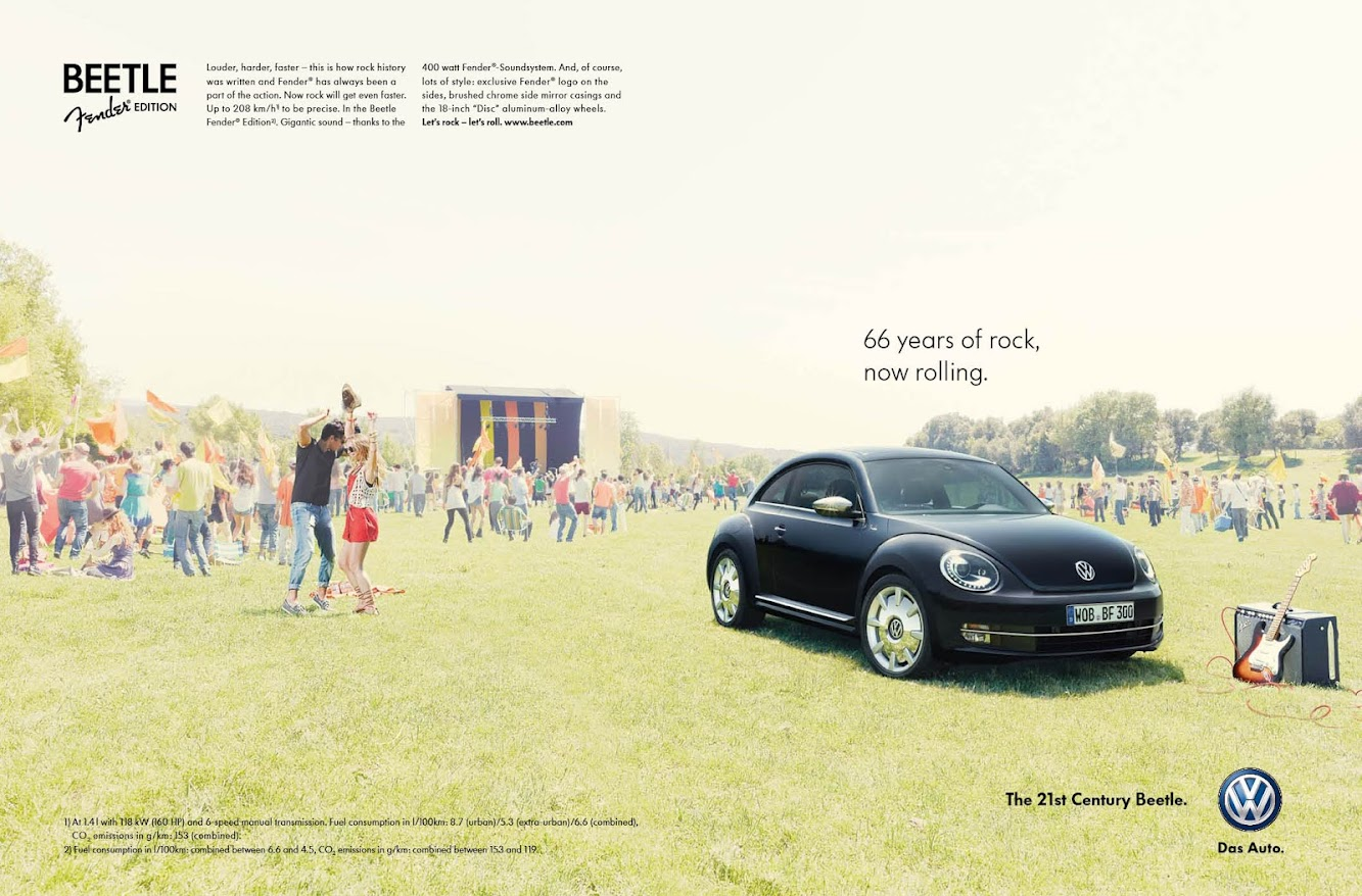 Volkswagen VW Beetle Fender Edition Print Ads — Sorry Groupies Not Included