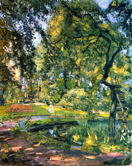 Max Slevogt - Garden in Godrammstein with Overgrown Trees and Pond