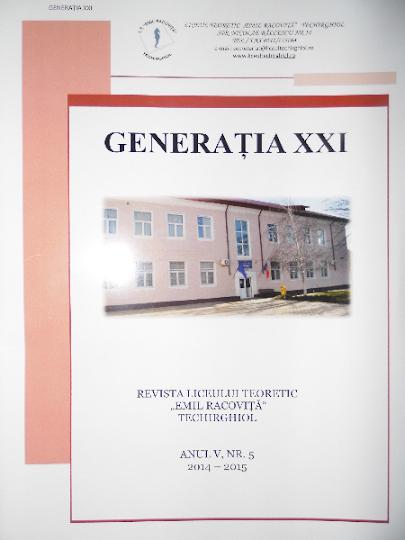 ed5 (Revista stiințifică - print) generația xxi_LICEUL TEORETIC _Emil Racovita_Techirghiol_CONSTANțA