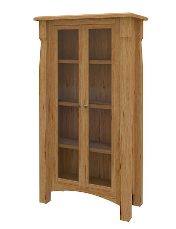 Catalina Glass Door Bookshelf in Classical Maple