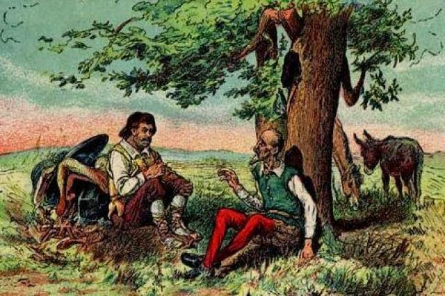 Sancho y don Quijote dan cuenta de las viandas tras la aventura de los encamisados