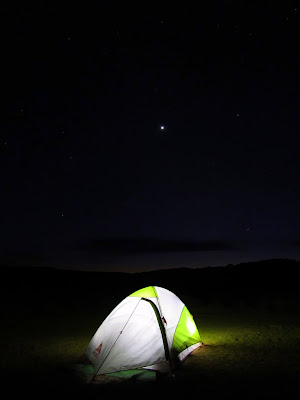My tent at night