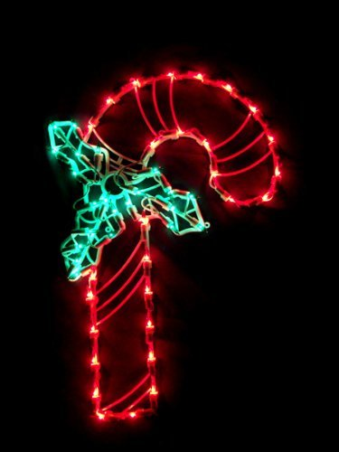 16-Inch Lighted Candy Cane Christmas Window Silhouette Decoration