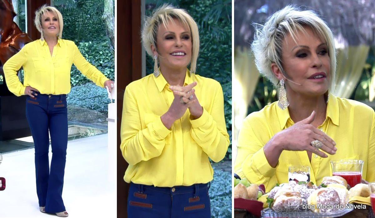 moda do programa Mais Você - look da Ana Maria Braga com camisa amarela dia 14 de julho