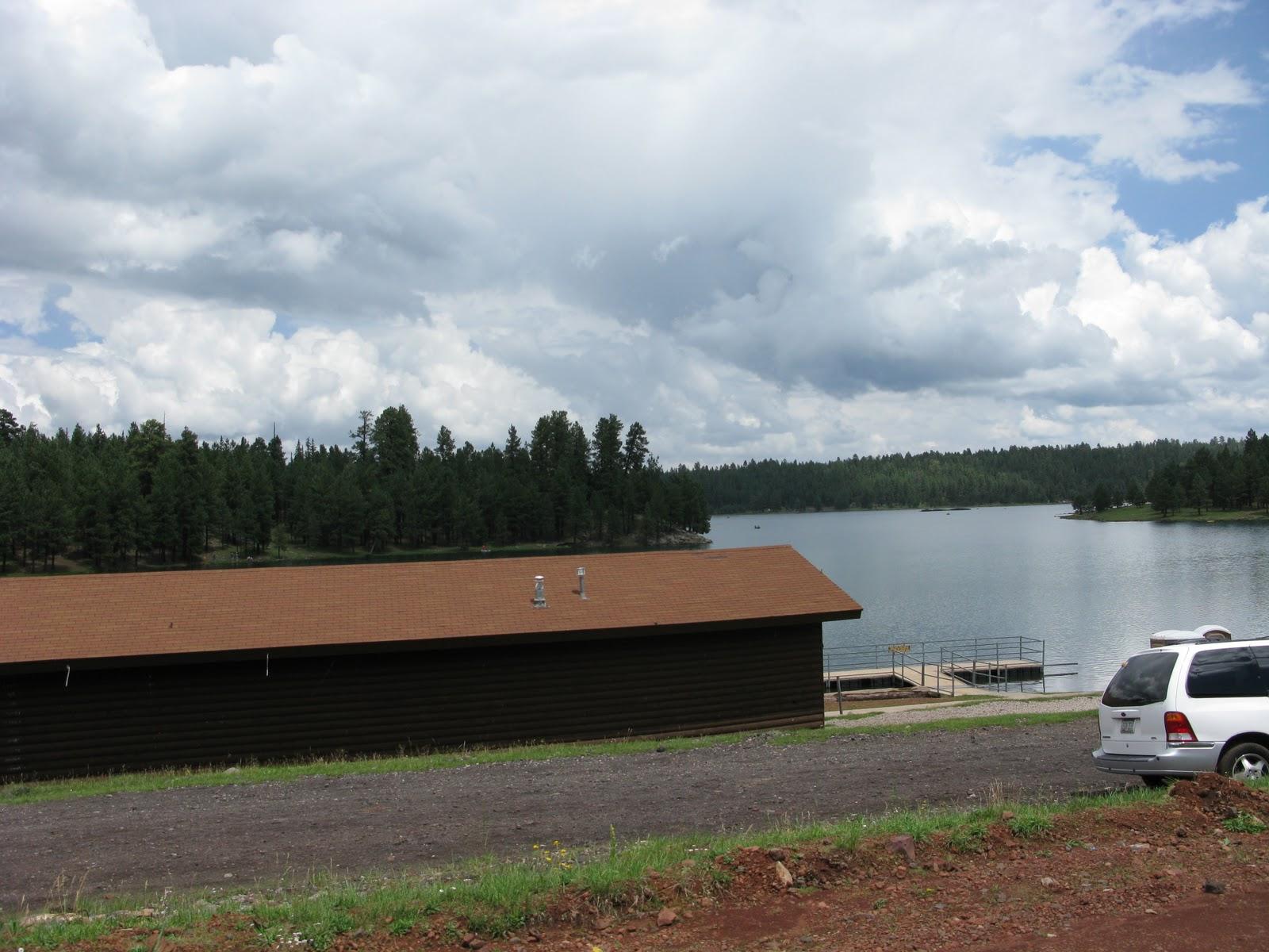 Boat Docks And Lakeside Cabins At Hawley Lake Arizona