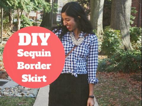 DIY Sequin Border Skirt